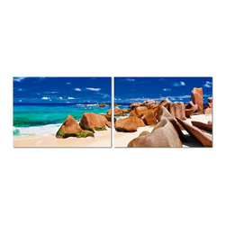 "Baxton Studio - Baxton Studio Tasmanian Tide Mounted Photography Print Diptych - The compelling beauty of the sculptural, natural phenomenon of a company of red rocks set against vivid blue sea and sky makes for a handsome addition to your collection of wall art. This two-piece MDF-framed photography set is a diptych: a divided single image meant to be placed on display together. Each frame is fitted with half of the photo printed on waterproof vinyl canvas. The Tasmanian Tide modern artwork is made in China, comes fully assembled, but requires mounting hardware (not included). Keep your new modern artwork clean by simply wiping clean with a dry cloth. Product dimension: 23.62""W x 1""D x 15.75""H"
