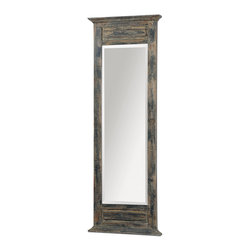 Uttermost - Lavina Distressed Leaner Mirror - How to best reflect your traditional decor? With this simple yet stately leaning mirror. Its ample, distressed frame, with hints of blue and ivory, has wonderful old-world charm.