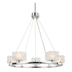 Kovacs - Kovacs P1455 5 Light Adjustable Height Chandelier from the Squared Collection - Kovacs P1455 Five Light Chandelier from the Squared Collection