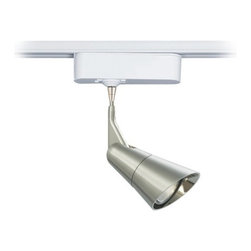"""Tech Lighting - Scania Metal 3"""" Tech Pendant for Lightolier Track Systems - The Scania is a clean European-inspired pendant head that features a metal plated finish. The head rotates 360 degrees and pivots 180 degrees to direct the beam. Includes snap louver lens holder which holds a single lens or louver (sold separately). Included track adapter lets you connect this pendant to Lightolier track lighting systems. Includes a built-in 12 volt transformer that's concealed in the white finish housing. Made by Tech Lighting for Lightolier Track Systems. For use with Lightolier line voltage track systems. Metal plated finish. Fully adjustable head. White finish adapter housing. Built-in 12V transformer. Takes one 50 watt MR16 halogen bulb (not included). Hangs 3"""" high. Head is 4 3/4"""" long. Adapter is 6"""" wide 1 3/4"""" high.  For use with Lightolier track systems.  Design by Tech Lighting.  White finish adapter housing.   Metal plated finish.   Fully adjustable head.   Built-in 12V transformer.   Takes one 50 watt MR16 halogen bulb (not included).   Hangs 3"""" high.   Head is 4 3/4"""" long.   Adapter is 6"""" wide 1 3/4"""" high."""