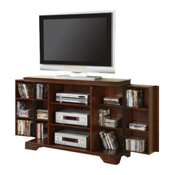 """Coaster - TV Console (Dark Brown) By Coaster - Two doors with six shelves inside each. Three center open compartments. Simple molding at the base and crown. Carved bracket feet. Made from poplar mix and birch veneers. Warm dark Brown finish. 50.5 """" W x 15.25 """" D x 35.5 """" H.  This stylish and convenient media console will be a wonderful addition to your living room or family room."""