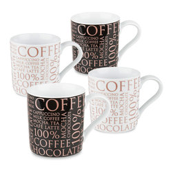 Konitz - Set of 4 Mugs 100% Coffee Rose-Gold on Black & White - Trendy, modern, fashion-forward: 100% Coffee boasts a brand new design, combining rose gold hues with elegant lettering. Available on both black and white backgrounds, this new collection of mugs is simply magnificent.