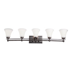 DVI LIghting - Dvi Lighting DVP8355PW-OP Five Light Vanity - DVI Lighting DVP8355PW-OP Five Light Vanity