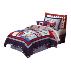 Pem America - Fireman Full / Queen Quilt with 2 Shams - The hero to the rescue in his big red fire truck!  This quilt features 100% cotton face cloth with applique and embroidery on the quilt and sheet sets.  This blue grid pattern houses large scale icons of fire fighting icons for the perfect boys bedding pattern. Hand crafted quilt set includes: 1 full/queen quilt (86x86 inches) and 2 standard shams (20x26 inches). Face cloth is prewashed 100% natural cotton.  Fill is 94% cotton / 6% other fibers. Hand crafted with embroidery. Machine Washable.