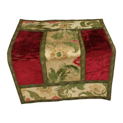 EuroLux Home - Consigned Vintage French Red Green Brocade Table - Product Details