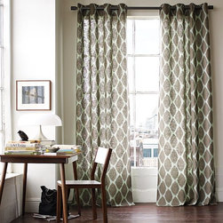 Ikat Ogee Linen Window Panel - Ikat patterns add optical intrigue to textural linen/cotton.