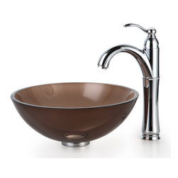 "Kraus - Kraus C-GV-103-14-12mm-1005CH Clear Brown 14"" Glass Vessel Sink & Riviera Faucet - Add a touch of elegance to your bathroom with a glass sink combo from Kraus"