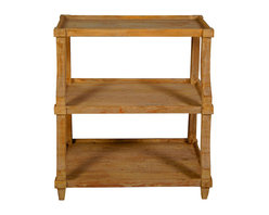 Low Display with a Medium Brown Wax Finish - With mildly curved uprights supporting a trio of rimmed, tray-style shelves, the Reclaimed Lumber Low Display is a modest piece to the first glance, but the depth achieved through an artisan wash over genuine repurposed wood makes it a fitting piece for presenting curios and treasures.  Open-sided, this display shelf serves well for ornaments but can also be used as a half-height bookshelf that lets your interesting bookends have equal light.