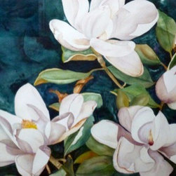 Magnolia Collage, Original Watercolor - There is so much to love about watercolor.  All of the shades and no color at all, with endless possibilities, even with only one image, we could explore it in infinite ways. Choice of original watercolor or giclee print.
