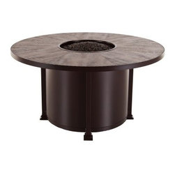 O.W. Lee Casual Fireside Santorini 54 in. Round Dining Height Fire Pit Table - Anyone who's ever tried to light clean or get that I'm-a-brisket smell out of their clothes and hair after using a wood-burning fire bowl can easily tell you about the benefits of the propane-powered O.W. Lee Casual Fireside Santorini 54 in. Round Dining Height Fire Pit Table. Using a standard propane canister this wrought iron fire pit features the frame finish of your choice and a wide tiled top that offers a full range of tile options to complement the frame finish you just selected. Inside that fire bowl that's going to light easily every time is your choice of lava rock glass pebbles stones or other fireproof media. Add this customizable piece to your porch and patio and watch hassle and maintenance go up in a puff of smoke. Runs on propane and/or natural gas conversion kit for natural gas is included. Materials and construction:Only the highest quality materials are used in the production of O.W. Lee Company's furniture. Carbon steel galvanized steel and 6061 alloy aluminum is meticulously chosen for superior strength as well as rust and corrosion resistance. All materials are individually measured and precision cut to ensure a smooth and accurate fit. Steel and aluminum pieces are bent into perfect shapes then hand-forged with a hammer and anvil a process unchanged since blacksmiths in the middle ages. For the optimum strength of each piece a full-circumference weld is applied wherever metal components intersect. This type of weld works to eliminate the possibility of moisture making its way into tube interiors or in a crevasse. The full-circumference weld guards against rust and corrosion. Finally all welds are ground and sanded to create a seamless transition from one component to another. Each frame is blasted with tiny steel particles to remove dirt and oil from the manufacturing process which is then followed by a 5-step wash and chemical treatment resulting in the best possib
