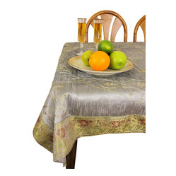 Banarsi Designs - Ornamental Embroidered Square Tablecloth - You take pride in serving food that is full of flavor and visual appeal. This zestful tablecloth allows those dishes to be placed on something as equally lively and enticing. Choose from a palette of colors that suits your sophisticated taste.
