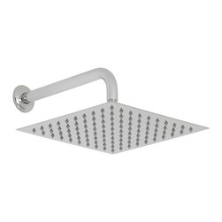 """Hudson Reed - 12"""" Bathroom Chrome Rainfall Shower Head Easy Clean Square Overhead & Wall Arm - Featuring a sleek minimal design, this 12"""" square shower head complete with wall mounted arm will perfectly enhance your modern bathroom. With easy to clean nozzles, this high quality shower head delivers a sensational showering experience."""
