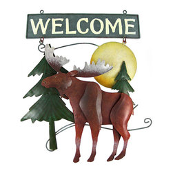 Beautiful Hand Painted Moose Metal Welcome Sign - This wonderful three dimensional, hand painted Welcome sign is great for both indoor and outdoor use. The sign measures 15 inches tall, 11 5/8 Inches wide, and has two loops at the top, so you can hang it to a wall. The sign features a North American Moose in the forest at sunset  It makes a great gift for friends and family