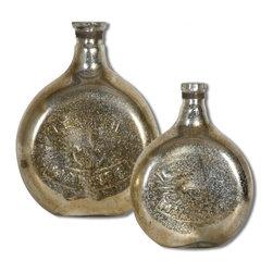 "Uttermost - Uttermost Euryl Mercury Traditional Vase X-31891 - Mercury style glass. Sizes: Small - 10"" x 13"" x 4"", Large - 12"" x 16"" x 5""."