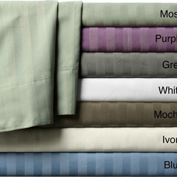 None - Luxury Manor Stripe 800 Thread Count Cotton Rich Sheet Sets - Sleep in comfort and luxury with this sheet set constructed of 800 thread count cotton. These machine washable sheets are available in a variety of colors that will surely complement your current decor.