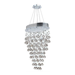 "Worldwide Lighting - Icicle 6 Light Chrome Finish Crystal Rain Chandelier Modern 20"" x 30"" - This stunning 6-light crystal Chandelier only uses the best quality material and workmanship ensuring a beautiful heirloom quality piece. Featuring a radiant chrome finish and finely cut premium grade clear crystals with a lead content of 30%, this elegant chandelier will give any room sparkle and glamour. Worldwide Lighting Corporation is a privately owned manufacturer of high quality crystal chandeliers, pendants, surface mounts, sconces and custom decorative lighting products for the residential, hospitality and commercial building markets. Our high quality crystals meet all standards of perfection, possessing lead oxide of 30% that is above industry standards and can be seen in prestigious homes, hotels, restaurants, casinos, and churches across the country. Our mission is to enhance your lighting needs with exceptional quality fixtures at a reasonable price."