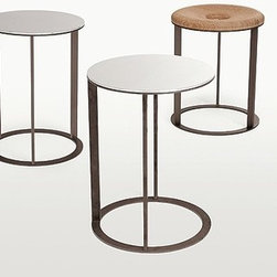 Maxalto Elios Side Table - The Elios Simplice Collection has small, multipurpose tables with round, square and oval tops. The structure is of polished chrome, bronzed or nickel steel sections with a mirror top. The square versions are available in gradually decreasing heights, while the round version offers an ottoman version with a top of brushed light or black oak or grey or brown oak.