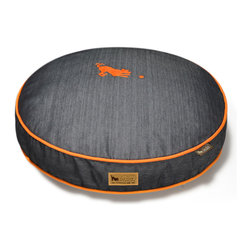 P.L.A.Y. - Round Pet Bed, Medieval Blue With Mandarin Piping - Round pet bed (Small) Urban Denim from the Original Collection (Medieval Blue/Mandarin); Fashionable denim fabrics with contrast piping; Machine wash separate/dry clean, eco-friendly and durable construction.