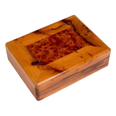 "Moroccan Buzz - 9-Compartment Box, Moroccan Thuya Wood - ""The simple lines of this artisan-crafted box accentuate its rich burl wood grain and lustrous finish. It features 8 small compartments and 1 large compartment. The exotic Thuya tree, native to the Middle Atlas Mountains, has been used for centuries by Moroccan woodcraft artisans. Thuya wood burls, the knobby outgrowths of the trunk or branches, produce beautiful and interesting wood grains which make every piece truly unique. The wonderful cedar-like aroma of Thuya wood lasts for years. Our Thuya wood pieces were handcrafted by artisans in the coastal town of Essaouira, close to the source of the Thuya wood, and renowned for its talented woodworkers."""