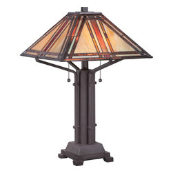 Quoizel - Quoizel Western Bronze Lamps - SKU: TF1672TWT - Fans of the American craftsman styles will love this 22``-high Revere table lamp. Enhancing its classic design appeal are 196 neutral-toned art glass pieces that are hand-assembled using the copper foil method developed by Louis Comfort Tiffany. The base is featured in a western bronze finish. Just lovely.