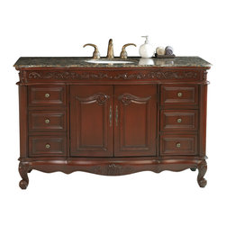 "Stufurhome - 56"" Princeton Single Sink Bathroom Vanity With Baltic Brown Granite Top - Alluring antique styling is immediately evident in the 56"" Princeton Single Bathroom Vanity, featuring a smooth Baltic Brown Granite top. An eye-catching cherry wood finish is highlighted beautifully with raised organic scrollwork on the bottom apron and top trim. Six subtle convex drawers, with ornate metal knobs, offer an immense amount of storage space to house your every necessity."