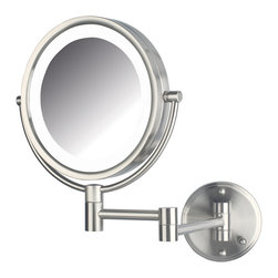 Jerdon HL88NLD 8X Magnified Lighted Wall Mount Mirror, Nickel Finish - HL88NLD