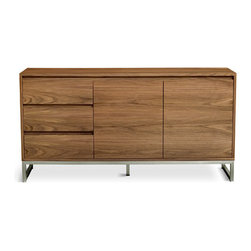 Gus Modern - Annex Cabinet - Annex Cabinet by Gus Modern. The new Annex Cabinet by Gus Modern combines warm walnut and cool stainless steel to create a functional, modern storage unit. The Annex features integrated, recessed handles for a clean, minimal look. All designs in the Annex Series feature adjustable shelves and micro adjustable level feet.