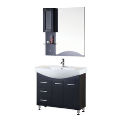 """Design Elements - Sierra 40"""" Single Sink Vanity Set in Espresso - The Sierra 40 Vanity is uniquely constructed of solid hardwood. The graceful lines of the integrated porcelain sinkbring a clean contemporary look to any bathroom and beautifully contrast with the sharp features of the espresso cabinetry. This unique design includes a soft-closing double-door cabinet and three drawers. An accented espresso mirror with shelf and medicine cabinet is included. The Sierra Bathroom Vanity is designed as a centerpiece to awe and inspire the eye without sacrificing quality, functionality, or durability."""