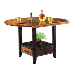 Steve Silver - Abaco Drop Leaf Counter Table - Let the Abaco Drop Leaf Counter Height Storage table take center stage at your next dinner party or gathering. The dining table includes tapered legs and a very unique finished top. The Abaco collection displays great craftsmanship and you will enjoy this collection for years to come.