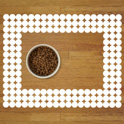 Sniff It Out Designer Pet Mats - Polka-dot Pet Food Mat, White - Premium-quality clear vinyl mats uniquely designed to resemble beautiful art painted directly onto your floor. The smoothness of the vinyl allows for easy cleanup and lays perfectly flat. Sniff It Out Pet Mats make great gifts and will be a conversation piece that your friends and family won't stop talking about. Made in the USA.