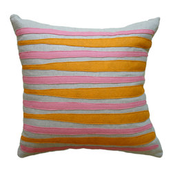 Balanced Design - Felt Appliqué Linen Pillow - Morris, Spice/Rose, 16x16 - Felt appliqué designs make a bold statement on this soft linen pillow. It's perfect for adding a burst of color and pattern to your home while also supporting hand-crafted work in the United States. Each pillow is sewn in Massachusetts and filled with fiber made from recycled plastic bottles. You can't go wrong with this ecofriendly design.