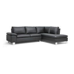 Baxton Studio - Baxton Studio Toria Black Modern Sectional Sofa - Turn the corner into your living room and you'll see just how the contemporary profile of our Toria Sectional Sofa delights and excites. This two-piece sectional sofa is made with a wooden frame, foam cushioning, and black faux leather. The sofa and chaise connect with a metal bracket and the chrome-plated steel legs are finished with non-marking feet to protect hard flooring. All cushions are sewn directly to the frame and are therefore unable to be removed. The Toria Sectional is made in China and requires only minor assembly. To clean, wipe with mild detergent and water or a vinyl cleaning product.