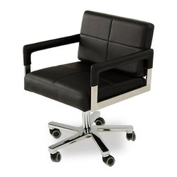 Squared Away Executive Desk Chair - Perform your best at work with our Squared Away Desk Chair. The black upholstery and reclining backrest provide a comfortable sitting position, while its wheels allow you to make the most of any space quickly.