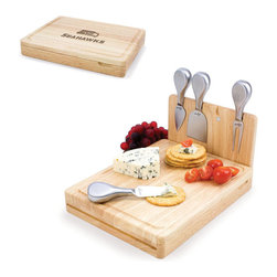 Picnic Time - Seattle Seahawks Asiago Folding Cutting Board With Tools in Natural Wood - The Asiago is a folding cutting board with tools that is another Picnic Time original design. This compact, fully-contained split-level cutting board is made of eco-friendly rubberwood. Lift up the top level of the board to reveal four brushed stainless steel cheese tools: a pointed-tipped cheese knife, cheese fork, cheese chisel knife, and blunt nosed hard cheese knife. The tools are magnetically secured to a wooden strip that lifts up so you can close the cutting board and display the tools. Designed with convenience in mind, the Asiago is great for home or anywhere the party takes you.; Decoration: Engraved; Includes: 4 brushed stainless steel cheese tools (1 pointed-tipped hard cheese knife, cheese fork, cheese chisel knife, and blunt nosed soft cheese knife