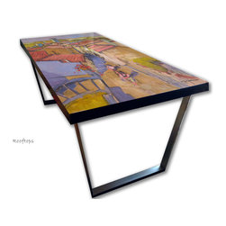 Hand Painted Dining Table, French Architecture design - made to order and custom hand painted tables and table tops. Selection of durable finishes.