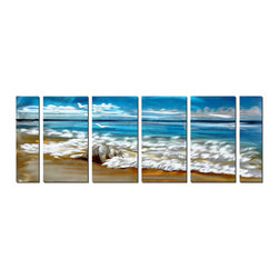 Pure Art - Shell, Surf and Sky Seascape Art Panels Set of 6 - This six panel wall art captures the essence of the endless, relenting nature of the sea itself. The surf pounds against the shore and has delivered a large, horse conch upon the beach. The colors are true to nature: Sandy brown, sea foam white and deep ocean blue. Puffy clouds and gulls whirling overhead add to the realistic feeling evoked in this artwork.Made with top grade aluminum material and handcrafted with the use of special colors, it is a very appealing piece that sticks out with its genuine glow. Easy to hang and clean.
