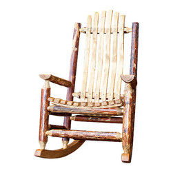 "Montana Woodworks - Montana Woodworks Adult Log Rocking Chair in Glacier Country - Handcrafted from solid American grown wood by the artisans of Montana Woodworks, this cozy log rocking chair will ease your worries away with it's gentle back and forth motion. Ergonomically designed and built to ensure hours of comfortable use, it is also designed and built to last for generations; truly an heirloom quality piece. You will be delighted with the artistry and the quality materials of this chair; your granddaughter can rock her child to sleep just as you rocked her mother years before. Finished in the ""Glacier Country"" collection style for a truly unique, one-of-a-kind look reminiscent of the Grand Lodges of the Rockies, circa 1900. First we remove the outer bark while leaving the inner, cambium layer intact for texture and contrast. Then the finish is completed in an eight step, professional spraying process that applies stain and lacquer for a beautiful, long lasting finish. Comes fully assembled. 20-year limited warranty included at no additional charge."