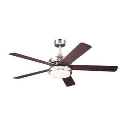 Westinghouse - Indoor Ceiling Fans: Westinghouse Castle 52 in. Brushed Nickel Ceiling Fan 72477 - Shop for Lighting & Fans at The Home Depot. With its sleek brushed nickel finish, 5 reversible blades, and opal frosted glass light fixture, this Westinghouse Castle 52 in. Brushed Nickel Ceiling Fan will add contemporary style and comfort to any room. Ideal for rooms up to 400 sq. ft. (20 ft. x 20 ft.) with standard 8 ft. ceilings, this fan features a 153 mm x 15 mm cold-rolled steel motor with triple capacitor for powerful, quiet air circulation. 3 fan speeds (high/medium/low) and a reversible switch allow maximum control over your indoor climate. Run the fan counterclockwise in the summer to keep your space cooler and clockwise in the winter to recirculation warm air from the ceiling. The ceiling fan provides airflow of up to 4,819 CFM. It is rated to operate at 66 watts at high speed (without lights), which gives it an airflow efficiency rating of 73 CFM/watt. (As a comparison, 49 in. to 60 in. ceiling fans have airflow efficiencies ranging from approximately 51 to 176 CFM/watt at high speed.) The Castle is remote control adaptable and comes with everything you need for installation, including a 3/4 in. x 6 in. (D x L) down rod, a 78 in. lead wire, and 2 medium-base 13 watt compact fluorescent light bulbs. It is backed by a lifetime motor warranty and a 2-year warranty on all other parts.