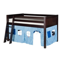 Camaflexi - Camaflexi Panel Headboard Low Loft Playhouse Bed - C421PNT - Shop for Bunk Beds from Hayneedle.com! With the Camaflexi Panel Headboard Low Loft Playhouse Bed makes your little one's bedroom a play area too. Perfect for maximizing floor space this low loft bed includes a sturdy bed curtain system to make it look like a house. Your kids are going to love it! The low loft design provides plenty of floor space below for all sorts of activities and the playhouse curtains come in select color options. The loft and sturdy ladder are built from eco- and people-friendly solid wood and come in classic child-safe finish options. Front and rear guard rails on the loft and grooved ladder steps ensure safety. This loft has a unique slat roll foundation and sturdy center rail support system offer durability without the need of a box spring. About CamaflexiCamaflexi designs furniture that grows with your children. They offer safety durability and beautiful furniture designs that you and your children will love. Camaflexi is a proud member of the sustainable furnishings council. All Camaflexi beds are made of solid wood and built to stand the test of time. They are all tested and certified to meet all government and industry safety standards. Camaflexi ladders and steps are extra wide to be safer for your children. Camaflexi creates furniture for growing children.