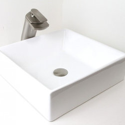 """None - 16.5"""" European Style Rectangular Shape Porcelain Ceramic Bathroom Vessel Sink - Compatible with most wall-mount or countertop-mount vessel filler faucets. Aside from being functional,this sink is also an elegant looking and great a conversational piece."""
