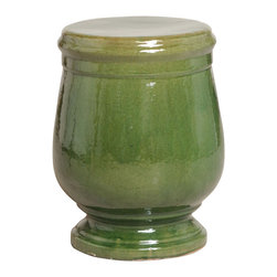 Kathy Kuo Home - Sierra Green Urn Shaped Ceramic Garden Stool Seat - Traditionally used in China as tea tables-these garden stools make a perfect addition to your living space as side tables, or clustered together to be used as a coffee table. Glazes are triple fired for added luster and shine. With a hand made product, glaze variations of up to 10% is to be expected.