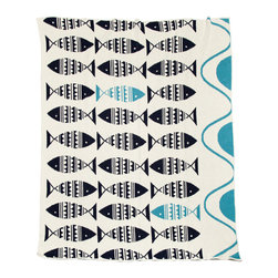 in2green - Eco Swedish Fish Throw, Marine/Aqua - Add color and warmth to your modern beach house with this Scandinavian design.