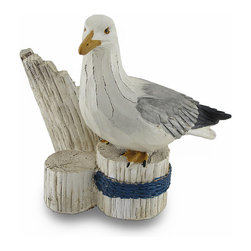 Coastal Seagull Bottle Holder Weathered Wood Look Finish Wine Display - This silent seagull is one seaside chum you won't mind hanging around! Cast in resin and skillfully hand-painted with characteristic white, gray and black markings, this seagull will beautifully display a single bottle your favorite wine or decorative oil in cool coastal style (bottle not included)! With a weathered wood-look finish, this 5 1/4 inches high (13 cm), 6 inches long (15 cm), 5 1/4 inches wide (13 cm) bottle holder is sure to make a splash!