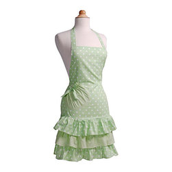 Flirty Aprons - Mint-a-licious Women's Marilyn Flirty Apron - The Marilyn Mint-a-licious apron is perfect for those who are looking for something feminine and chic. This single layered candy shop-themed apron is form fitting with three layered ruffles to add the perfect touch of flirty-frill.