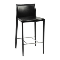 Euro Style - Barstool in Full Cover Leather - Set of Two - Sophisticated and classic styling makes a great combination for any decor.  Barstools are beautifully crafted in taut leather from framing to seat and back.  Chrome finished stretcher forms the foot rail and adds a gleaming accent to the supple black tone.  Wrap it up - in leather.  Only the footrest is the non-conformist being made of chrome. * Set of 2Seat back and legs covered completely in leather. Chromed foot restSold in pairs only17 in. W x 20 in. D x 38 in. HSeat Height: 30 in.