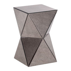 ZUO - Modern Antiqued Mirrored Side Table - Crafted from antiqued mirror pieces, this end table coordinates with almost any decor. Perfect as a side table in the living room or a unique corner piece for the bedroom; any empty spot in need pizazz infusion!