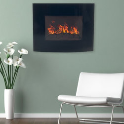 Northwest - Northwest Electric Fireplace Wall Mount with Black Curved Glass Panel - 80-EF455 - Shop for Fire Places Wood Stoves and Hardware from Hayneedle.com! Cozy? Check. Cool? Check. Convenient? Check. Get it all with the Northwest Electric Fireplace Wall Mount with Black Curved Glass Panel. This elegant contemporary fireplace features a curved black glass front that's sure to impress not only guests but you too. Better yet the included remote control allows you to tweak heat settings flame brightness and power from the comfort of the couch. Installation hardware is included for easy wall mounting.About NorthwestNorthwest electic fireplaces allow anyone to bring warmth and style into their home. Crafted with precision and care for user convenience all Northwest fireplaces allow high quality flame effects and superb heat. Northwest fireplaces are available in a variety of shapes sizes and styles making it easy to add a bold statement to any room.Create a bold style statement in your home or office with a Northwest electronic fireplace. Available in a variety of shapes sizes and styles to ensure a perfect fit for any room.