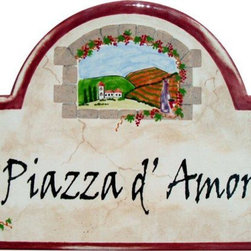Tuscan Style Address and House Numbers Plaques - To find out more and how to order click here: http://www.classyplaques.com/tuscan-style-address-plaques/ Cascading grape vines frame our beautiful window scene of the Tuscan countryside with our Tuscan Address and Name Plaque. You will love this Mediterranean Style plaque with a washed gray background, flecks of sand and crack lines to resemble the ruins of Italy. With many designs to choose from, our custom plaques are carefully created to reflect you and what you enjoy most. These plaques are weather resistant and their hand painted colors will not fade. They can be safely displayed outdoors or easily hung indoors, giving that perfect finishing touch to your vacation get-away or your year-round residence.