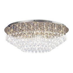 "The Gallery - FLUSH CRYSTAL CHANDELIER CHANDELIERS LIGHTING WITH CRYSTAL BALLS! H11"" X W33"" - Modern Flush Crystal Chandelier. This beautiful crystal flush chandelier features 36 lights bulbs which reflect magnificently off of the crystal balls!"