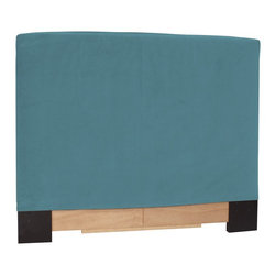 Howard Elliott - Mojo  King Slipcovers - Refresh the look of your slipcovered headboard simply by updating the cover! Change with the seasons, or on a whim. This piece features a soft faux suede turquoise blue cover